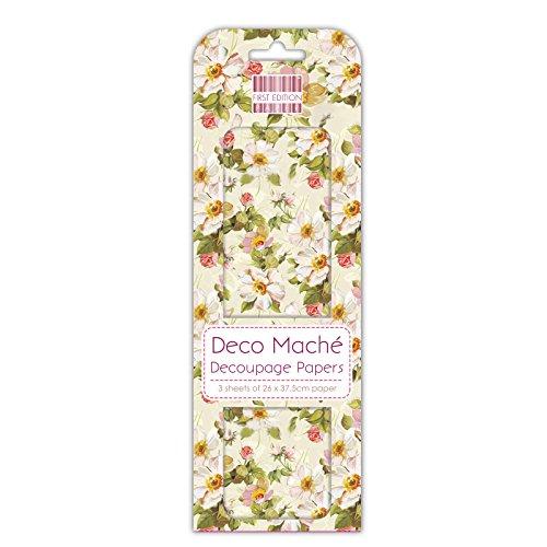 First Edition Deco Mache - Carta per découpage, Motivo con Fiori Gialli