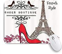 KAPANOUマウスパッド エッフェル塔の赤いハイヒールとパリフランス都市のランドマークサイン ゲーミング オフィ良い 滑り止めゴム底 ゲーミングなど適用 マウス 用ノートブックコンピュータマウスマット
