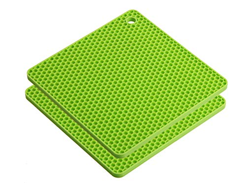 Silikon Topflappen/Untersetzer eckig Wabe 2er Set lime