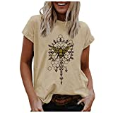 Dosoop Women Honey Bee Crewneck T Shirts Sunflowers Graphic Tee Short Sleeve Tunic Blouse Tops World Bee Day Gift