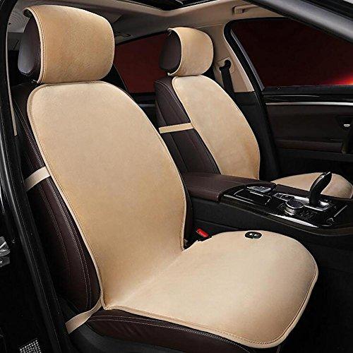 MIAO Auto-Sitz-Heizungs-Auflage, Winter-Auto allgemeine 12V / 24V elektrische Heizung Zweisitzer-Samt-Sitz-Kissen , beige