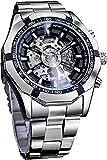 QHG Relojes para Hombre, Reloj de Pulsera mecánica de Acero Inoxidable a Prueba de Agua, Reloj de Pulsera de Esqueleto para Hombres. Diseño de dial Grande
