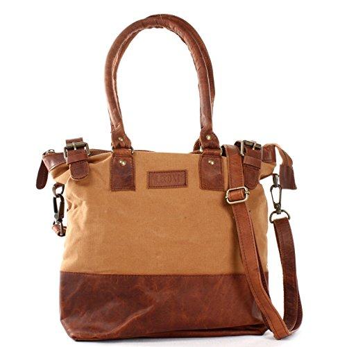 LECONI Schultertasche Damentasche Handtasche kleiner Freizeit Shopper Beuteltasche aus Leder + Canvas für Damen 37x33x12cm cognac LE0056-C