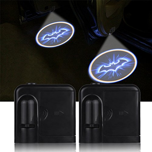 Viitech 2 Unids Puerta de Coche Inalámbrica Led Bienvenido Proyector,Luces de Bienvenida o cortesía, lámpara de Sombras con Figura de Bat,luz Fantasma operada con batería, con Sensor magnético