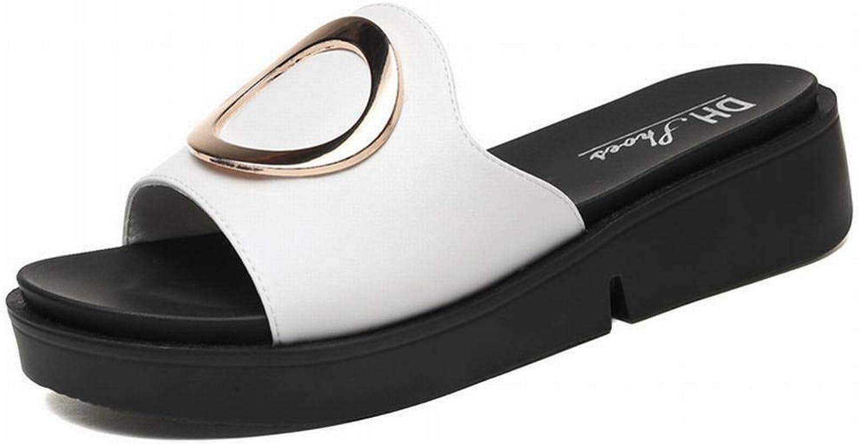 LTN Ltd - sandals Damenhausschuhe Damenbekleidung Sommerhausschuhe mit Dicken Sohlen Fashion Pop Beach Damenschuhe, Weiß, 40