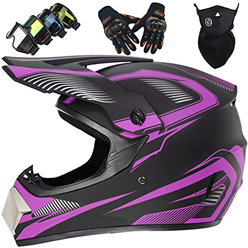 KILCVEM Cascos Moto Niños, Casco Motocross para Infantil Set (4 Piezas), Casco de Motocicleta Todoterreno de Integral Hombres y Mujeres para Quad Dirt Bike MTB ATV Downhill Enduro,Purple-L