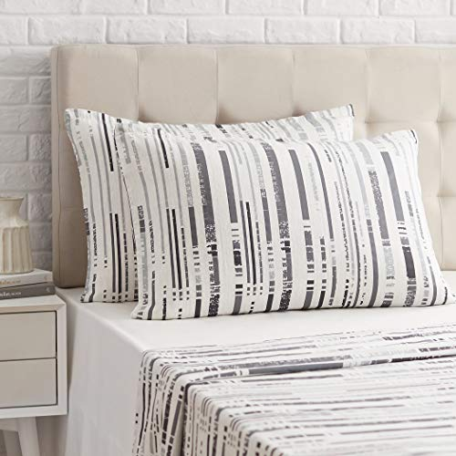 Amazon Basics - Funda de almohada de satén - 40 x 80 cm x 2, Gris a rayas texturizado
