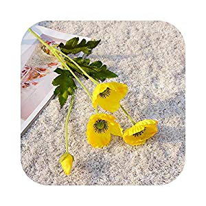 Dreamture 4 Heads/Branch Poppy Flowers with Leaves Artificial Flower for Home Party Decoration Flores Poppies-Yellow