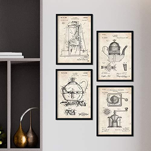 Nacnic Vintage - Pack de 4 Láminas con Patentes de Cafeteras. Set de Posters con inventos y Patentes Antiguas. Elije el Color Que Más te guste. Impreso en Papel de 250 Gramos de Alta Calidad