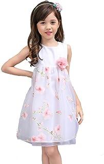 女の子ドレス 子供ワンピースリッポン飾り 花びら 3層スカートの王女のドレス 膝丈入園式/結婚式/フォーマル/発表会