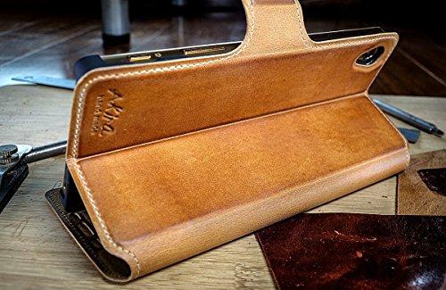 Urcover Akira Hand Made [Echt Leder] Handyhülle kompatibel mit Sony Xperia Z5 Compact Flip Cover Handgemacht Case Schutzhülle Etui Flip Wallet Pen Hell Braun