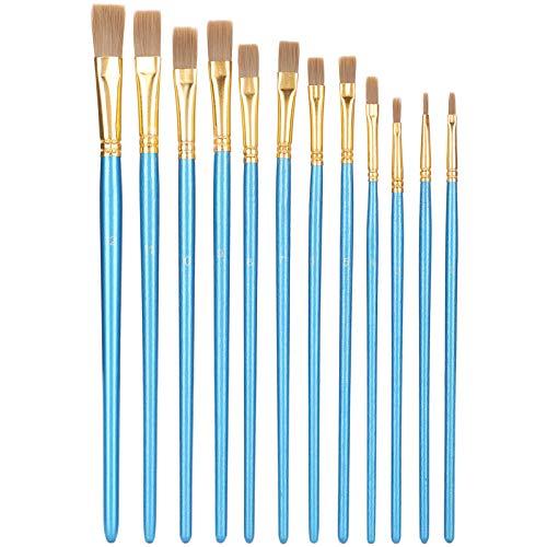 GAESHOW, 12 piezas, juego de pinceles de pintura, punta plana, lana de nailon, varilla azul, tubo de aluminio de madera, pluma de pintura, azul perla