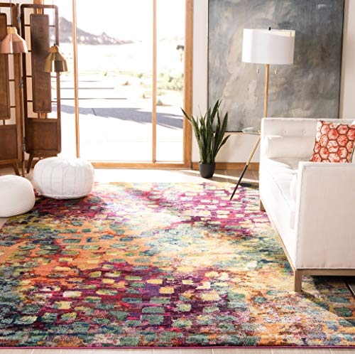 Safavieh Monaco Collection MNC225D Modern Boho Abstract Watercolor Area Rug, 6' 7' x 9' 2', Pink/Multi