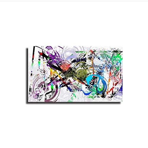 WTHKL Ciudad Abstracta Graffiti Bicicleta Pintura Carteles e Impresiones Lienzo Pintura Arte de la Pared para la decoración de la Sala de Estar -50x70 cm sin Marco 1 Piezas
