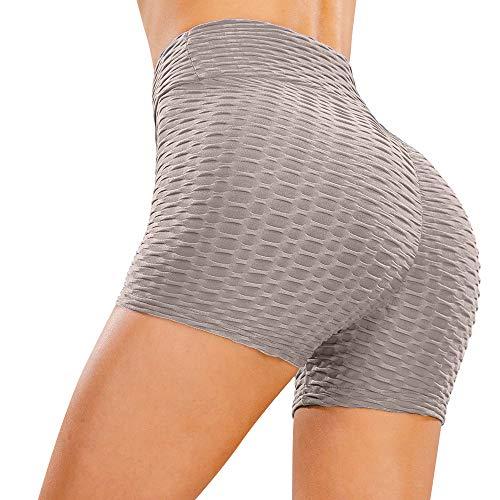 Heekpek - Pantalones cortos deportivos para mujer, pantalones cortos de fitness para mujer, con cintura ancha elástica para yoga, jogging y gimnasio. gris S