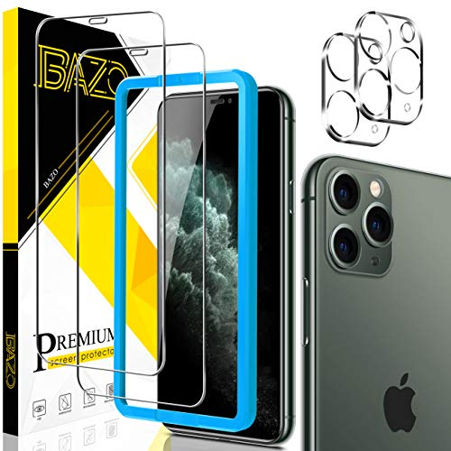[2+2 Pack] BAZO 9H Tempered Glass Screen Protector + Camera Lens Protector for iPhone 11 Pro Max (6.5 inch) [Anti-Scratch] [Alignment Easy Installation Frame] HD Clear Film [Case Friendly]
