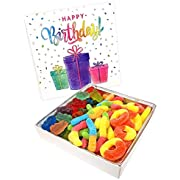 Happy Bites Happy Birthday Gummi Candy Gift Box with Gummi Bears, Sour Neon Gummi Worms, & Peach Gummi Rings
