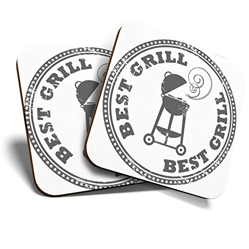 Great Coasters (Set of 2) Square/Glossy Quality Coasters/Tabletop Protection for Any Table Type - BBQ Best Grill Summer #7149