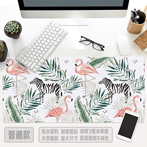 Muiskussen, Flamingo Zebra Green Leaf Plant Oversized Waterdichte Thicken Mouse Pad Toetsenbord Pad Geschikt voor Home Office Leren Games 30x78cm