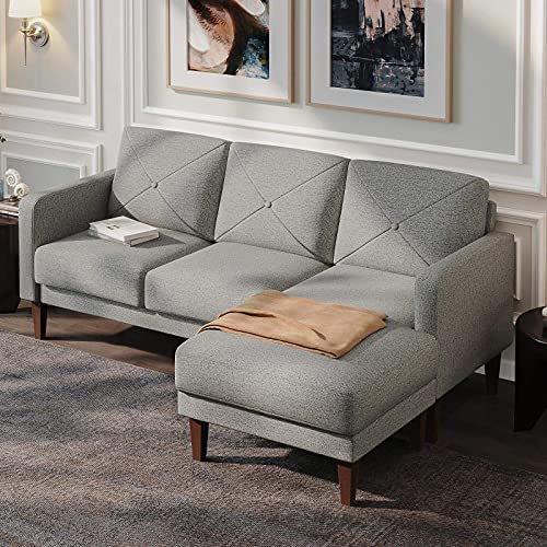 Belffin Corner Sofa 3 Seater Sectional Sofa with Chaise Lounge L Shaped Sofa Couch Gray