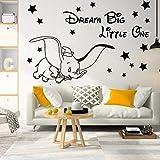 Adhesivos de pared para habitación infantil Dumbo dream grow up tatuajes de pared sala de estar en casa dormitorio murales decorativos vinilo extraíble 42 * 58 cm