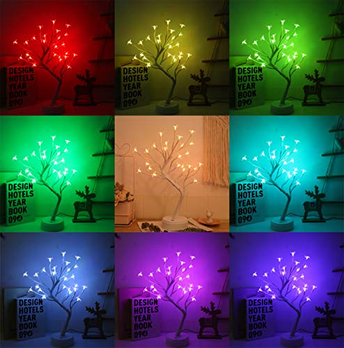 Night Light Flower Tree Light Cherry Blossoms Bonsai Tree lamp with 16 Color Changing with Christmas Birthday Gift for Girl Kids Women for Holiday and Party Home Room Decoration (Cherry)