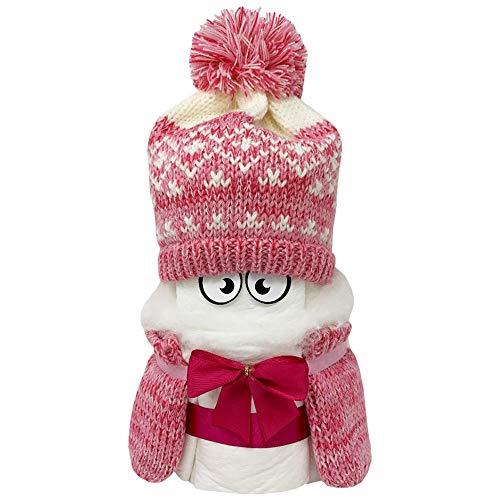 Kleines Windelbaby PIMFI Pommelchen 21tlg. in rosa für Mädchen. Geschenk zur Geburt Babyparty Taufe. Die Windeltorte ist geschenkfertig in Folie verpackt.