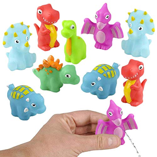 ArtCreativity Rubber Water Squirting Dinosaurs, Pack of 12, Bathtub and Pool Toys for Kids, Safe and Durable Water Squirters, Birthday Party Favors, Goodie Bag Fillers