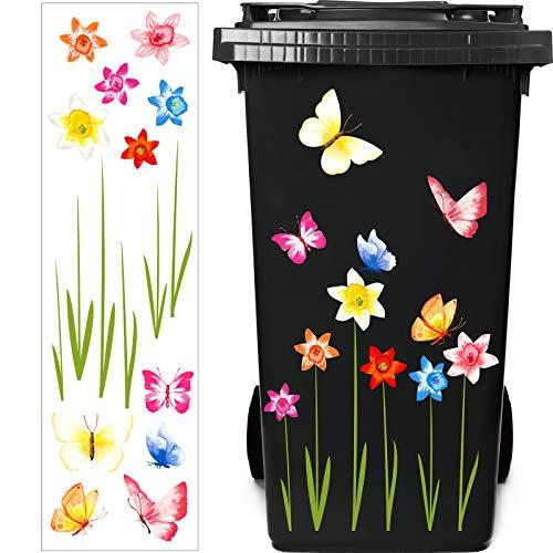 Mülleimer Blumen Aufkleber Eimer Dekorative Aufkleber Mülltonnen Blumen Aufkleber Abziehbild für Behälter, Kühlschrank und Haushalt Dekorationen (Bunt)
