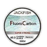 KDHJY 500M Fluorocarbono Pesca Línea 5-32LB Prueba de Carbono Líder Fibra de línea 0.165-0.46mm línea de Pesca con Mosca (Color : Clear Mainline, Size : 0.331MM 18.39LB)
