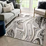 Well Woven Buckley Grey Retro Waves Marble Pattern Rug 8x10 (7'10' x 9'10')