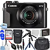 Canon PowerShot G7 X Mark II (Black) 1066C001 - Pro Bundle with Extra NB-13L Rechargeable Battery, Ultra 32GB SD Card, Gadget Bag and Pouch, 12' Gripster and More