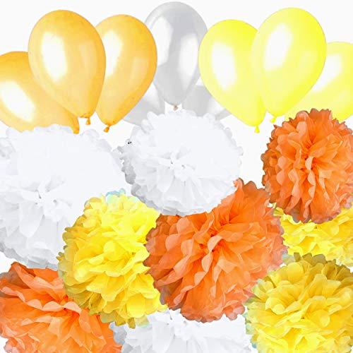 AMPALS - Pack exclusivo de 18 piezas para decoración de fiesta de cumpleaños, boda, bautizo, 9 pompones de papel de seda amarillo,naranja y blanco, tamaños 20,25,30 cm y 9 globos de bálsamo