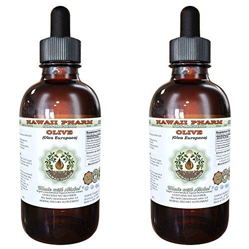Olive Alcohol-Free Liquid Extract, Organic Olive (Olea europaea) Dried Leaf Glycerite Natural Herbal Supplement, Hawaii Pharm, USA 2x4 fl.oz
