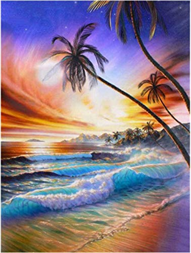 ZSZXMZ DIY Embroidery Craft Kit(11CT), Beach Color Adult Needlework Gift Beginner Cross Stitch Wall Decoration,Adult Kid Christmas Gifts 40X50cm(Frameless)