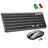 topelek tastiera e mouse wireless pc, tastiera wireless portatile pc, mouse silenzioso e anti-scivolo con 3 dpi, tastiera qwerty italiano per laptop/notebook/windows/mac (nero)