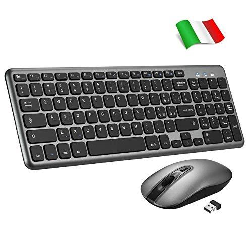 TOPELEK Tastiera e Mouse Wireless PC, Tastiera Wireless Portatile PC, Mouse Silenzioso e Anti-Scivolo con 3 DPI, Tastiera QWERTY Italiano per Laptop/Notebook/Windows/Mac (Nero)