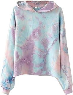 FSSE Womens Loose Fit Tie-Dyed Hoodie Long Sleeve Fall Pullover Sweatshirt Tops