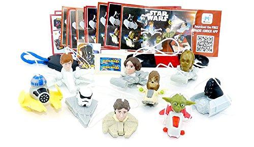 Komplettsatz Star Wars Figuren Set mit allen Beipackzetteln (9 Figuren und 2 Spielzeuge)