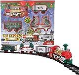 TOYLAND - Juego de Trenes navideños a batería de 152 cm con Elfos móviles, Luces y Sonido