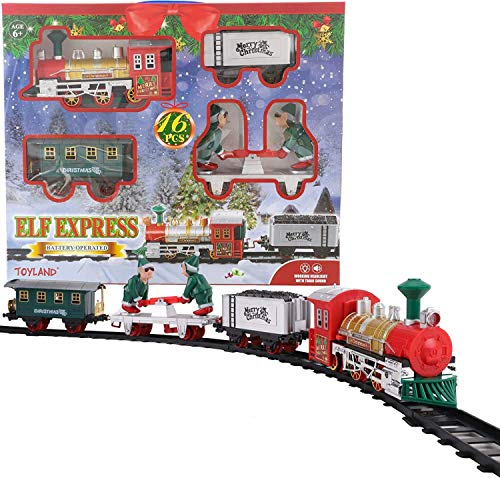 TOYLAND® - Juego de Trenes navideños a batería de 152 cm con Elfos móviles, Luces y Sonido