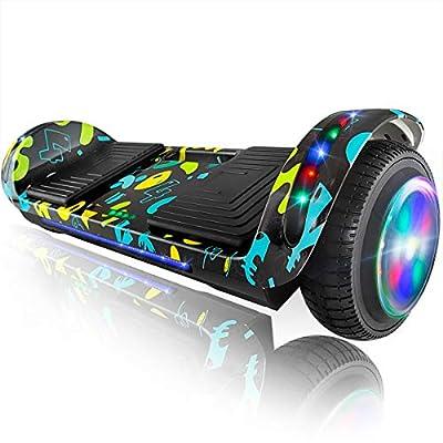 """XPRIT 6.5"""" Hoverboard Self-Balance Two Wheel w/Built-in Wireless Speaker (Black Graffiti, 6.5'' Wheel)"""