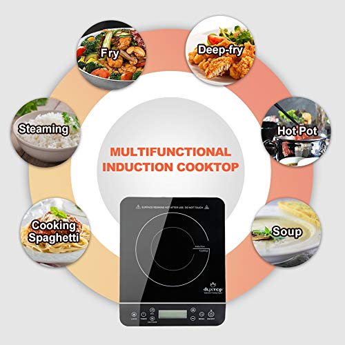 Duxtop Portable Induction Cooktop, Countertop Burner Induction Hot Plate with LCD Sensor Touch 1800 Watts, Silver 9600LS
