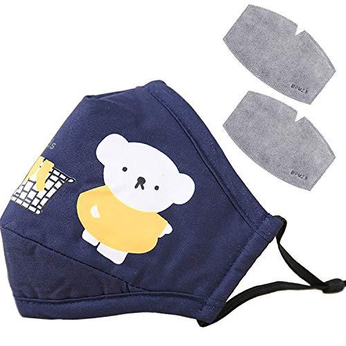 Cartoon Bears Unisex Face Protective,Adjustable Reusable Washable Cotton Fabric Dustproof for Children kids (Dark Blue)