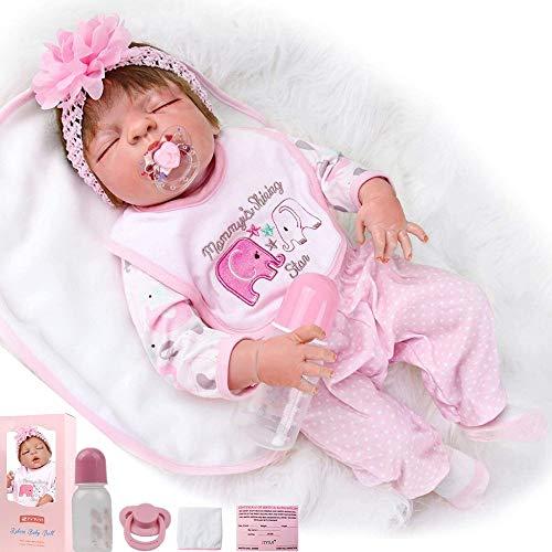 """ZIYIUI 23 """" Muñecas Juguete Realista de Muñecas 58cm Vinilo de Silicona de Algodón Reborn Baby Doll"""