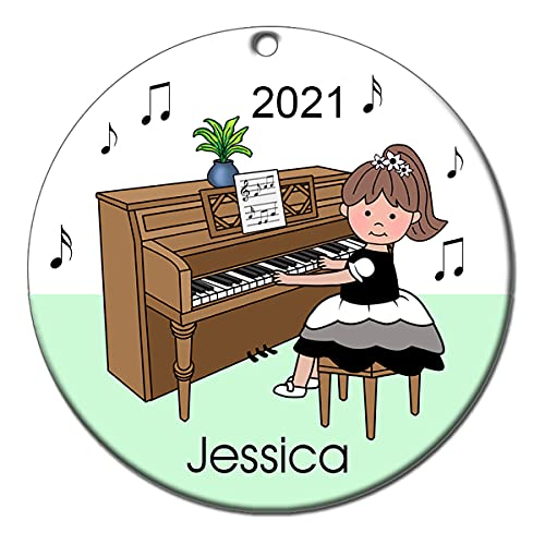 Piano Recital Personalized Ornament - Brown Haired Girl