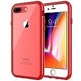 JETech Hülle kompatibel mit iPhone 7 Plus und 8 Plus, Transparente Anti-Kratzer Rückseite, Rot
