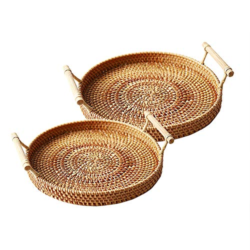 N / C Multifunctional Rattan Tray With Handle, Environmentally Friendly And Natural Materials, Handmade, Beautiful And Practical, Suitable For Home, Office, Restaurant