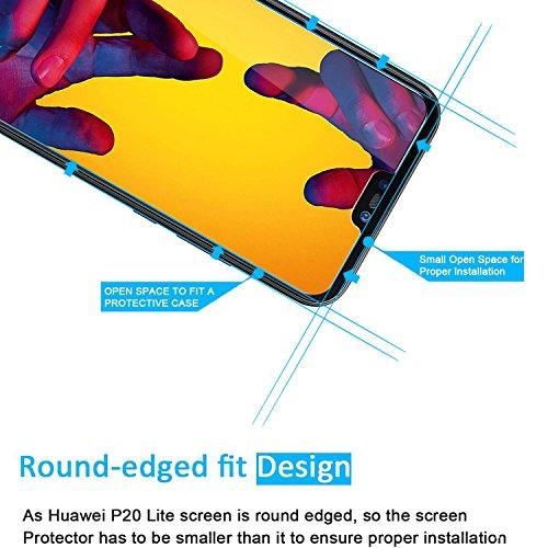 NEW'C PanzerglasFolie Schutzfolie für Huawei P20 lite, [2 Stück] Frei von Kratzern Fingabdrücken und Öl, 9H Härte, HD Displayschutzfolie, 0.33mm Ultra-klar, DisplayschutzfolieHuawei P20 lite - 3
