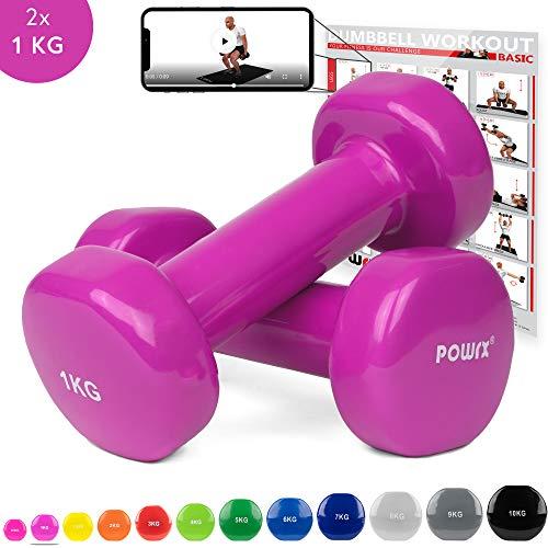 Vinyl Hanteln Paar Ideal für Gymnastik Aerobic Pilates 0,5 kg – 10 kg I Kurzhantel Set in versch. Farben (2 x 1 kg (Pink))